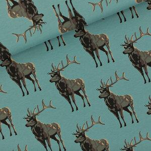Deer trellis blauw - french terry