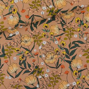 Summer flowers kameelbruin - french terry